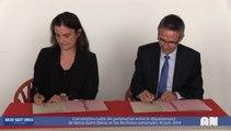 Signature de la convention-cadre de partenariat en tre le département de Seine-Saint-Denis et les Archives nationales (France) le 16 juin 2014 à Pierrefitte-sur-Seine.