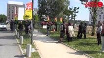Manifestation des intermittents devant la Direction du travail à Cesson