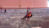Staffers Dangle From Ropes During Grand Canyon Skywalk Cleanup