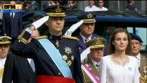 La nouvelle famille royale espagnole chante l'hymne avant l'avènement de Felipe VI - 19/06