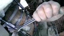 Chat coincé dans un amortisseur de voiture