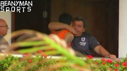 Disgraced Luis Suarez Shares Emotional Embrace As He Leaves Uruguay Hotel