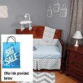 Best Price Chevron Zig Zag Blue and Gray 5 Piece Baby Crib Bedding Set with Bumper Review