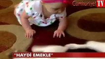 Evin köpeğinden bebeğe emekleme dersi