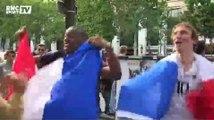 Football / Les supporters tricolores mettent le feu sur les Champs-Élysées - 30/06
