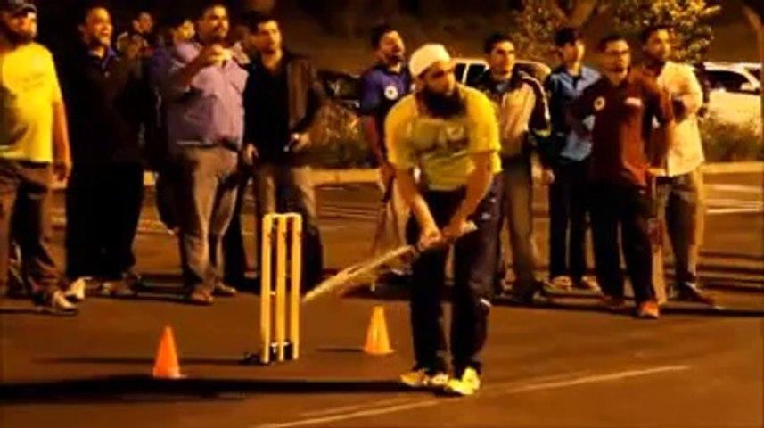 Pakistani Star Batsman Mohammad Yousaf Batting in Ramadan Tape Ball Night Tournament in USA