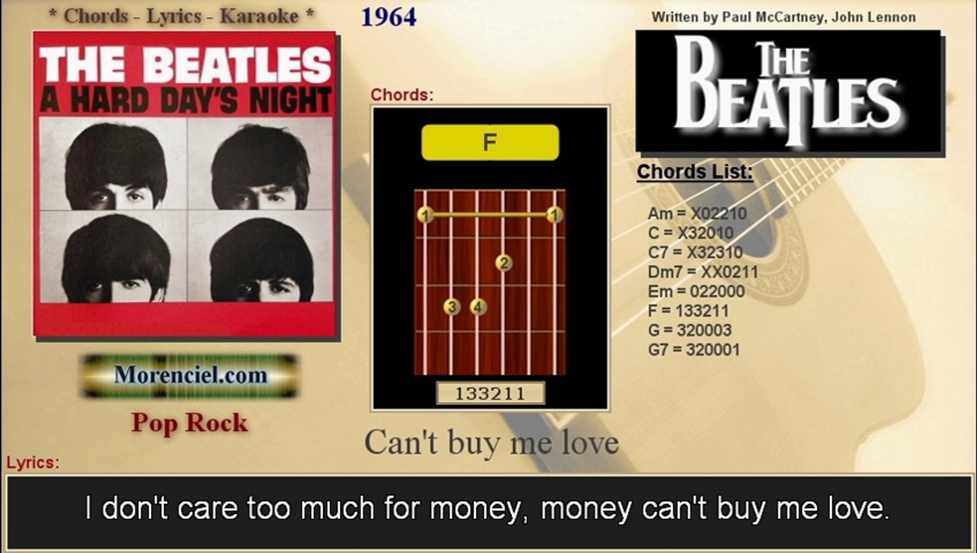 The Beatles - Can't buy me love (Karaoke, no vocal)
