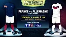 France - Allemagne, Bresil - Colombie... Le programme TV des quarts de finale !