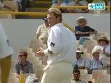 Shane Warne bowls a bouncer to Brian Lara