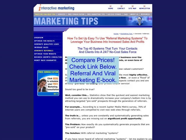 Discount on Referral And Viral Marketing E-book.
