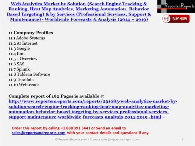 2019 Forecasts and Analysis of Web Analytics Market (Marketing Automation, Behavior Based Targeting)