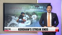 L.A. Dodgers Clayton Kershaw has streak end against Padres