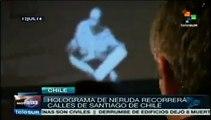 Hacen chilenos holograma trashumante de Pablo Neruda en Santiago