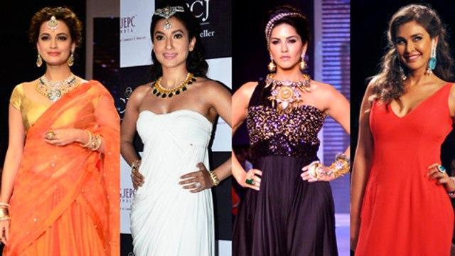 Sunny Leone, Dia Mirza, Gauhar Khan, Lisa Ray Ramp Walk - IIJW 2014