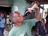 amazing drinking of cold drink bottle in one sip.