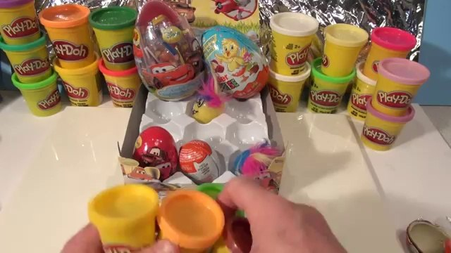 21 Surprise Eggs from Disney Cars, Kinder Surprise Eggs, Funny Face Surprises, and Play Doh Eggs