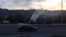 Un camion en feu à Nice Saint-Isidore