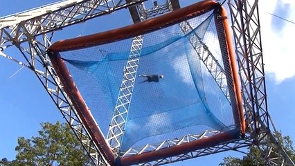 Free Fall Thrill Ride Sky Tower Drops People With Nothing But A Net