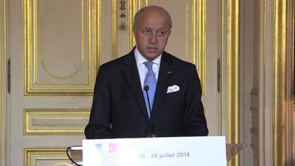 Vol AH5017 d'Air Algérie - Conférence de presse de Laurent Fabius (24.07.14)