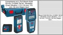 Las mejores ofertas de Bosch GLM 50+GLL 2+GMS 100 M - Nivelador láser (Alcalino; 1.5 V; 53 mm; 115 mm; 32 mm) Negro; Azul