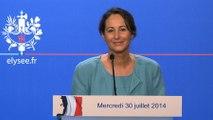 Présentation par Ségolène Royal du projet de loi relatif à la transition énergétique pour la croissance verte