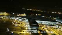 Night Takeoff from Hong Kong Airport. Boeing 747-8 Lufthansa. Nice Night View of Many Planes and of the Airport