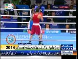 Pakistani boxer Mohammad Waseem punches on Ghana's player in CMW Boxing Semi Final