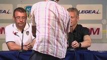 Conférence de presse AC Arles Avignon - AC Ajaccio (0-0)   Franck  DUMAS (ACA) - Christian BRACCONI (ACA) - 2014 2015