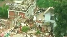 Chine : La zone du tremblement de terre vue du ciel