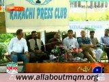MQM condemns Rangers action at residence of Dr Farooq Sattar: Press Conference at Karachi Press Club