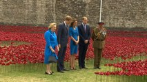 Royals plant poppies at WW1 Tower of London tribute