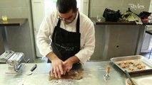 Les pâtes fraîches au café, en ravioles fourrés au foie gras de l'Atelier Guy Martin
