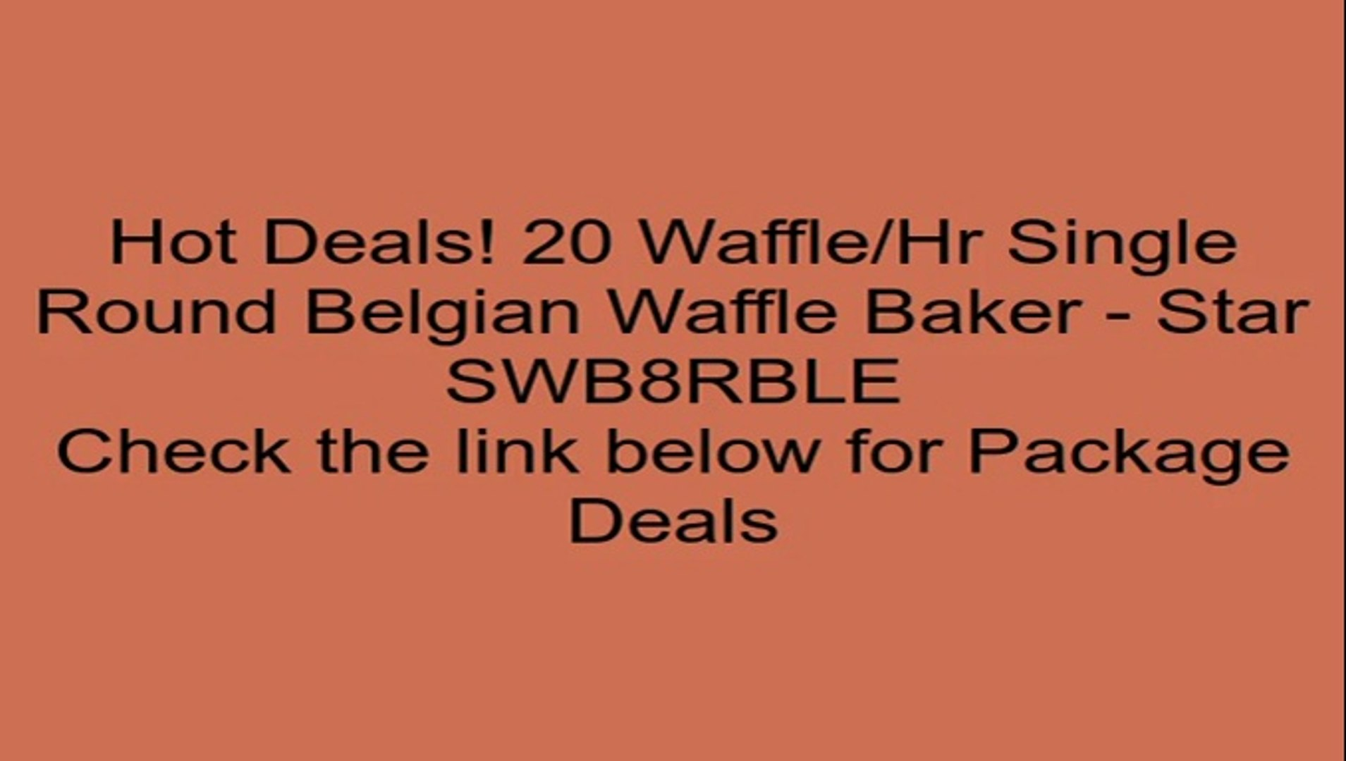 20 Waffle/Hr Single Round Belgian Waffle Baker - Star SWB8RBLE Review