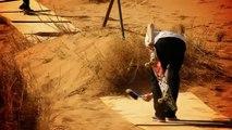 Skate session on sand dunes in the Moroccan Desert.