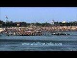 Allahabad: Pilgrims gathered at Sangam during Kumbh Mela festival