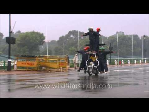Indian Army soldiers display their skills on the motorcycle during rehearsal