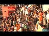 Crowd of Hindu pilgrims gather on the banks of River Ganges to celebrate Mahashivratri, Varanasi