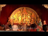 Devotees paying reverance to Maa Durga on Durga Puja