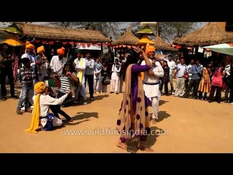 Rajasthan's folk musicians performing away at Surajkund Mela