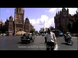 People and traffic across Chhatrapati Shivaji Terminus of Mumbai