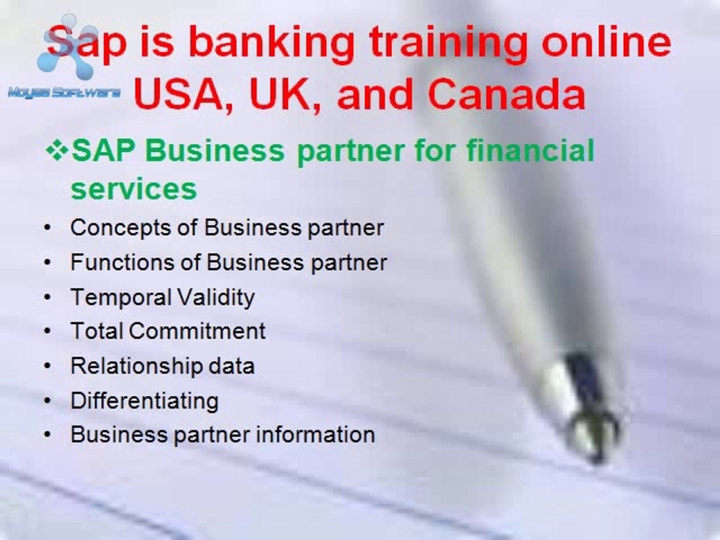 Sap is banking training online USA, UK, and Canada