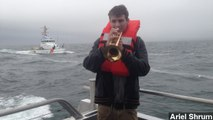 Trumpeter Calms Passengers After Huge Wave Hits Ferry