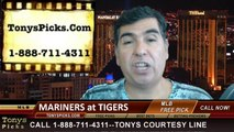 MLB Pick Detroit Tigers vs. Seattle Mariners Odds Prediction Preview 8-16-2014