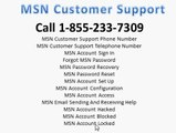 1-855-233-7309 MSN Password Recovery Reset Customer Support Helpline Number