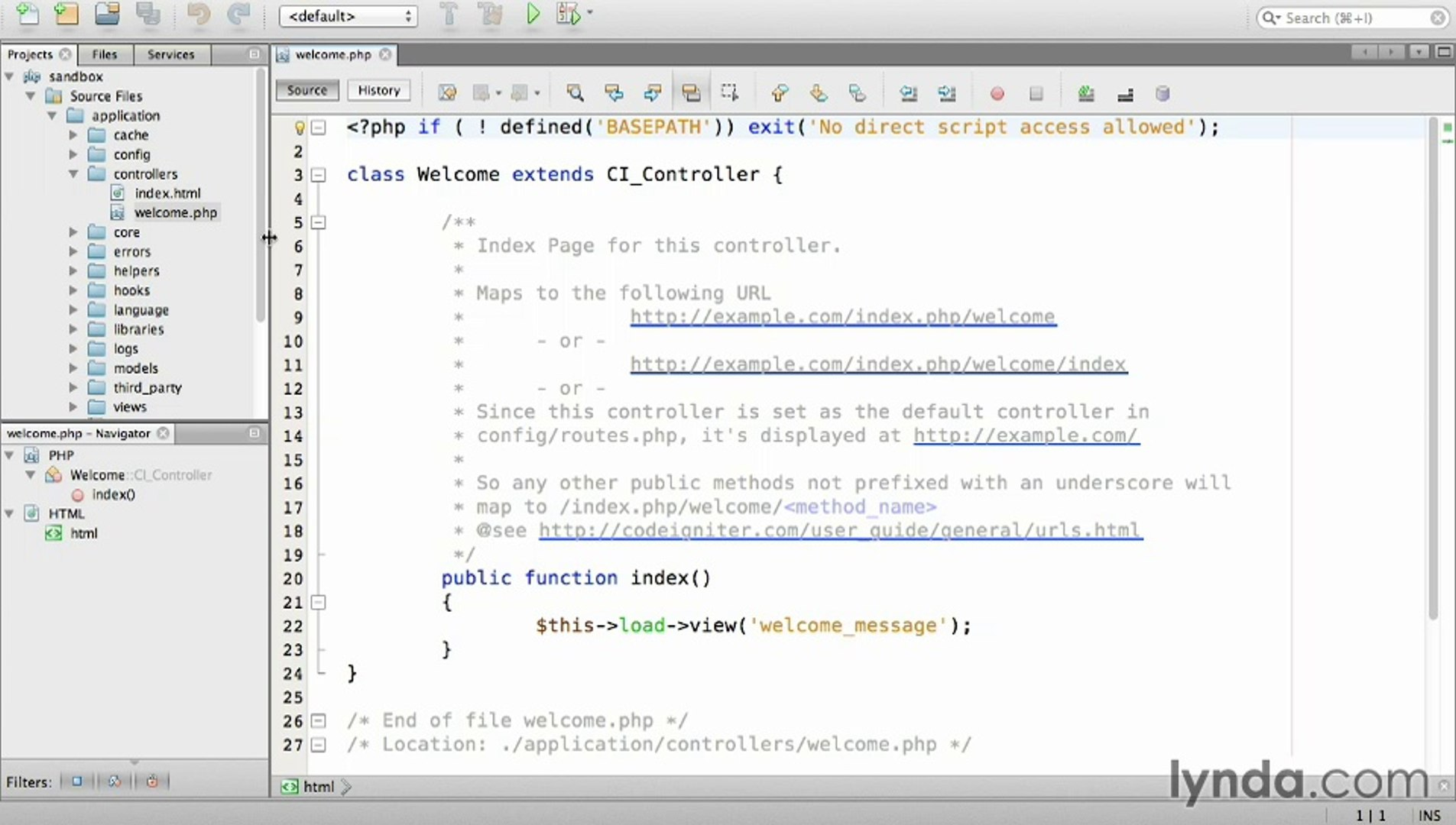 Lynda  Up and Running with PHP CodeIgniter / Section 2 - 4  Creating a  static page controller