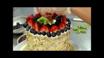 How to Make Watermelon Cake with whipped cream icing and fresh fruits!