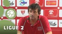 Conférence de presse Nîmes Olympique - AC Arles Avignon (2-2) : José  PASQUALETTI (NIMES) - Franck  DUMAS (ACA) - 2014/2015