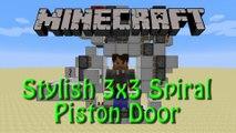 Minecraft: Stylish 3x3 Spiral Piston Door Tutorial featuring a Downward Double Piston Extender