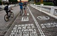 Une voie piétonne pour les accros du portable en Chine