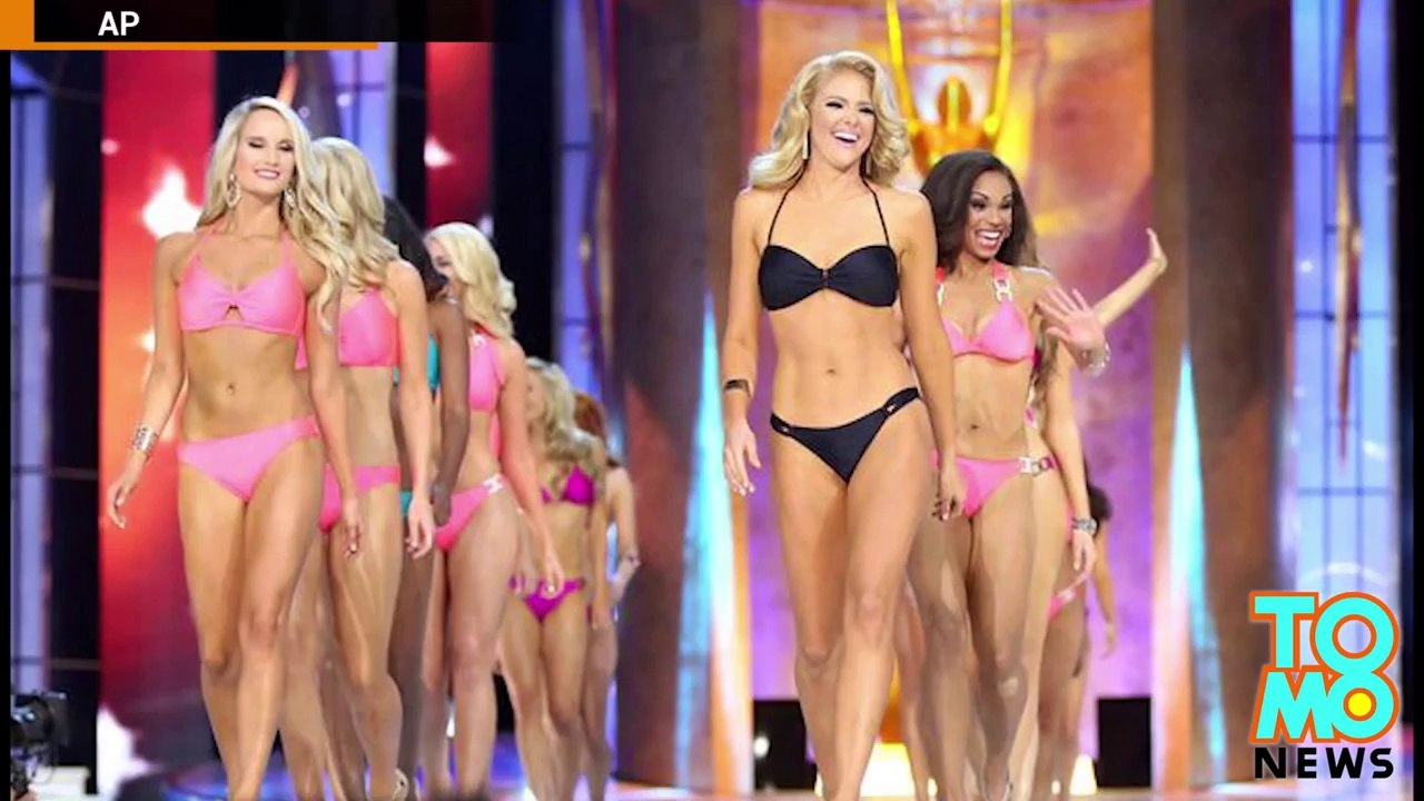Miss Nebraska flashes live television audience during Miss